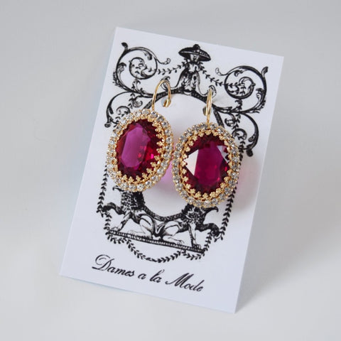 Fuchsia Pink Crystal Halo Earrings