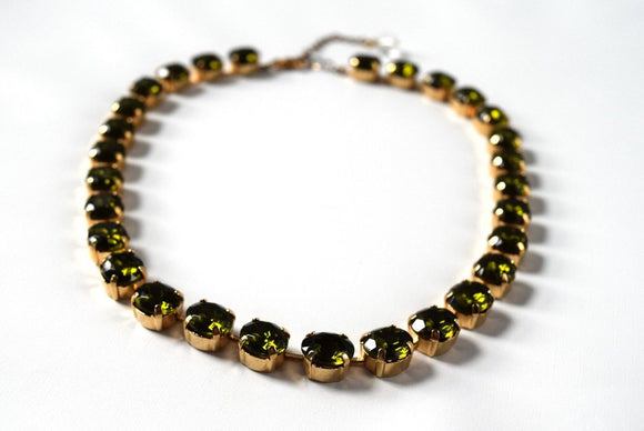 Olive Green Crystal Collet Necklace - Small Oval