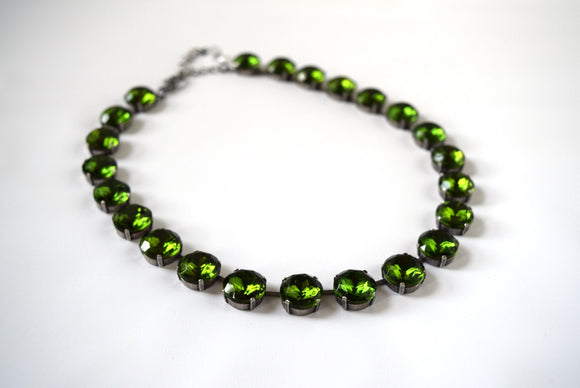 Olive Green Riviere Necklace - Medium Round