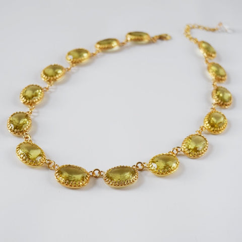 Yellow Crown-set Riviere Necklace - Large Oval