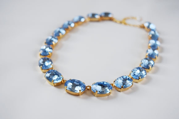 Light Blue Crystal Collet Necklace - Large Oval