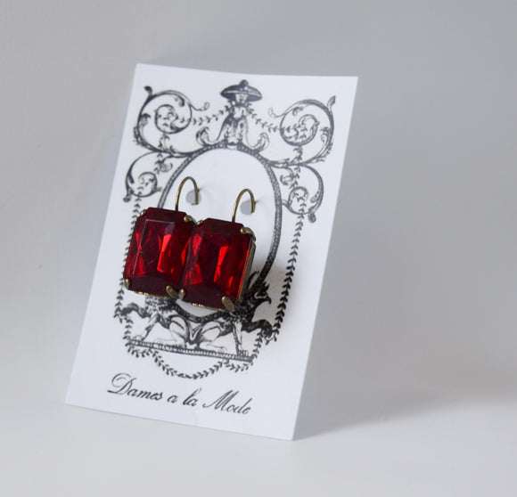 Dark Red Crystal Earrings - Large Octagon