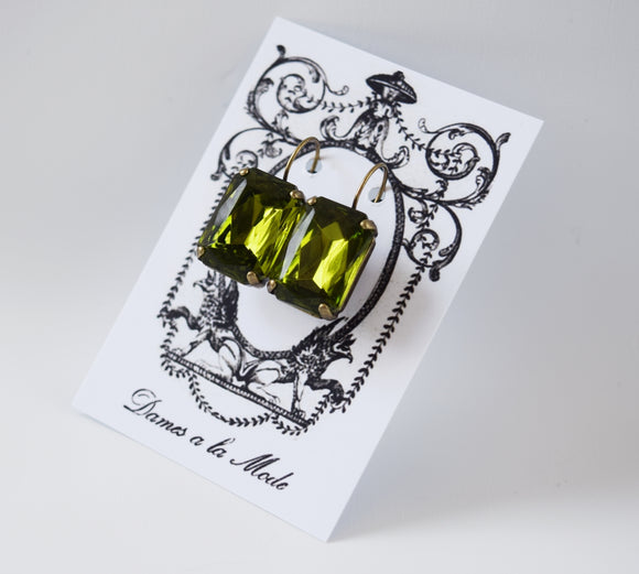 Olive Green Crystal Earrings - Large Octagon