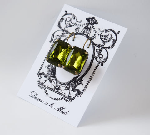 Large Olive Green Crystal Earrings - Octagon