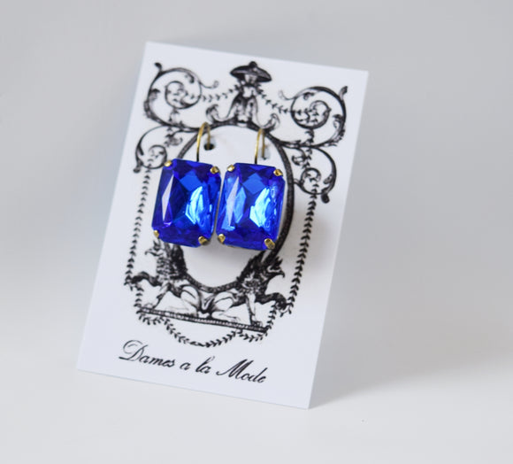 Sapphire Blue Crystal Earrings - Large Octagon