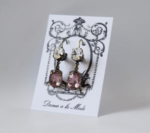 Light Purple and Crystal Earrings - 2 Stone