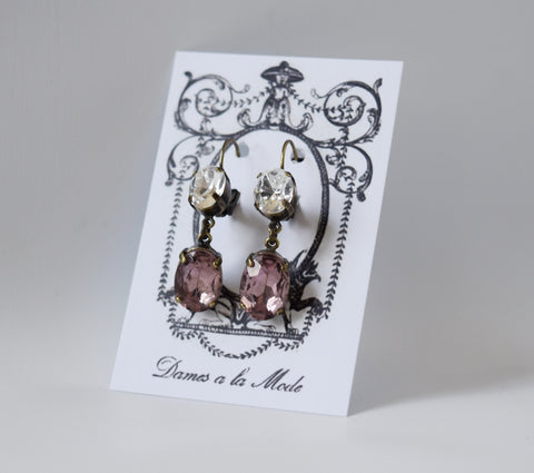 Light Purple and Crystal Earrings
