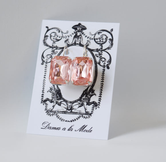 Blush Pink Crystal Earrings - Large Octagon