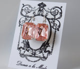 Large Blush Pink Crystal Earrings - Octagon