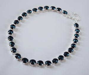 Navy Blue Paste Crystal Riviere Necklace - Small Oval