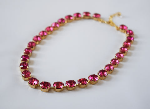 Pink Crystal Necklace, Vintage Swarovski Crystal - Small oval