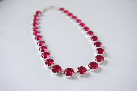 Pink Topaz Collet Necklace - Small Round