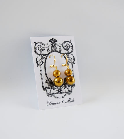 Golden Ball Dangle Earrings