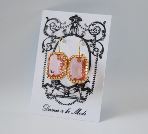 Blush Pink Crystal Crown Earrings