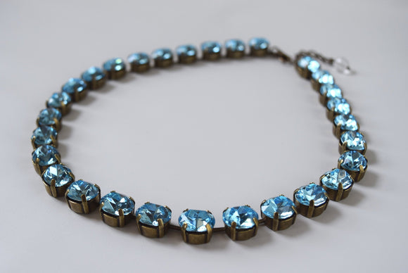 Aquamarine Blue Necklace, Swarovski Crystal - Small oval