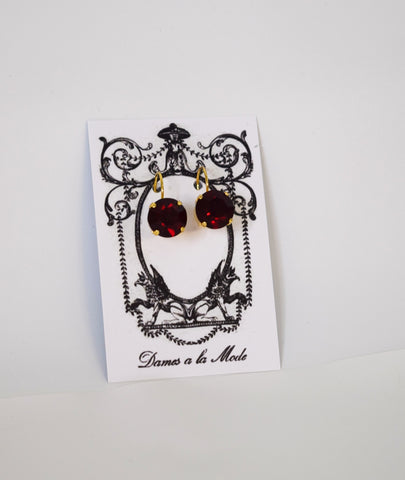 Garnet Swarovski Crystal Earrings