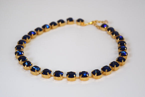 Dark Blue Swarovski Crystal Collet Necklace - Small Round