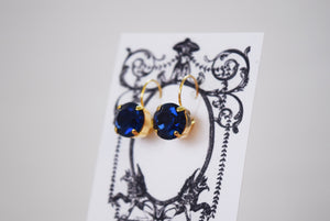 Dark Sapphire Swarovski Crystal Earrings