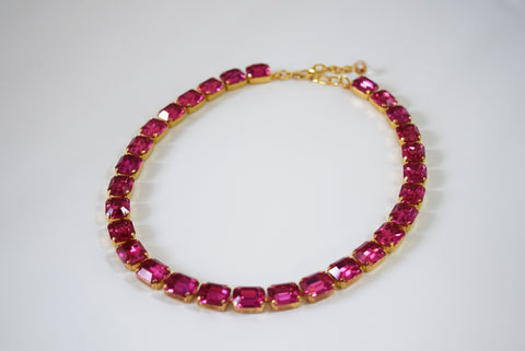 Dark Pink Crystal Collet Necklace - Small Octagon