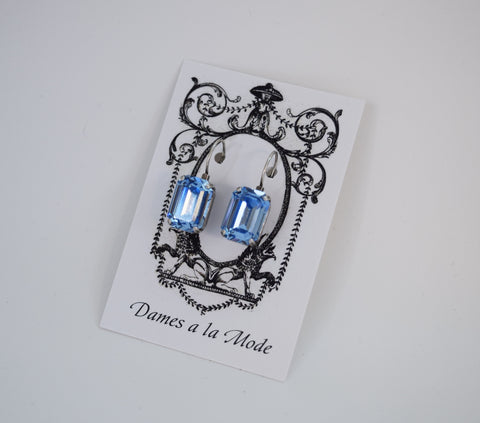 Light Blue Swarovski Crystal Earrings - Medium Octagon