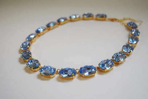 Light Blue Swarovski Crystal Collet Necklace - Large Oval