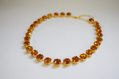 Orange Swarovski Crystal Collet Necklace - Small Round