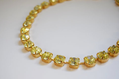 Light Yellow Swarovski Crystal Citrine Collet Necklace - Small Round