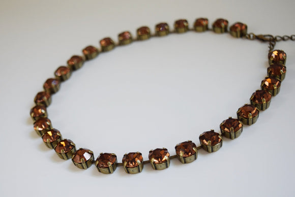 Colorado Topaz Swarovski Crystal Collet Necklace - Small Round