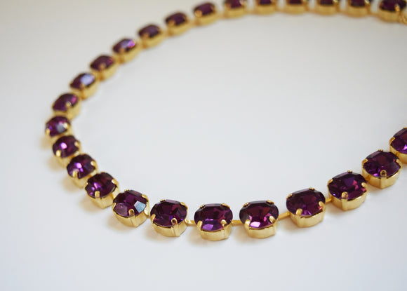 Amethyst Purple Swarovski Collet Necklace - Small Oval