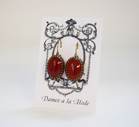 Carnelian Crown Earrings