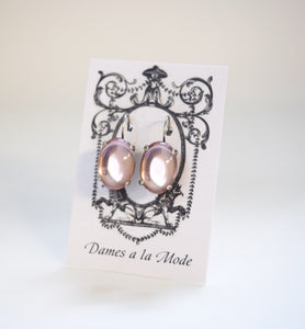 Pale Pink Crystal Mirror Earrings - Large Oval