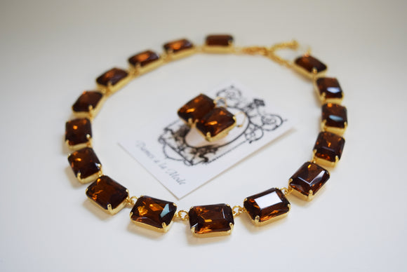 Brown Topaz Crystal Collet Necklace | Large Octagon Riviere