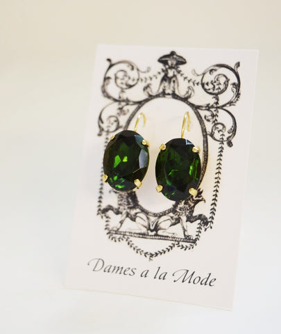 Green Tourmaline Crystal Earrings - Large Oval
