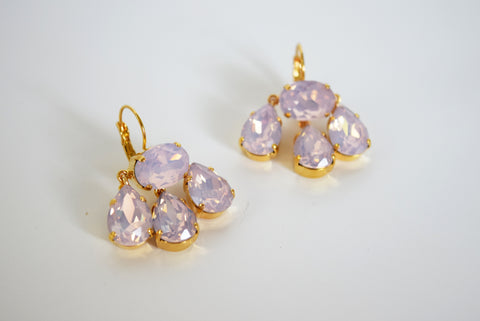 Girandole Earrings - Large Pear Pink Opaline