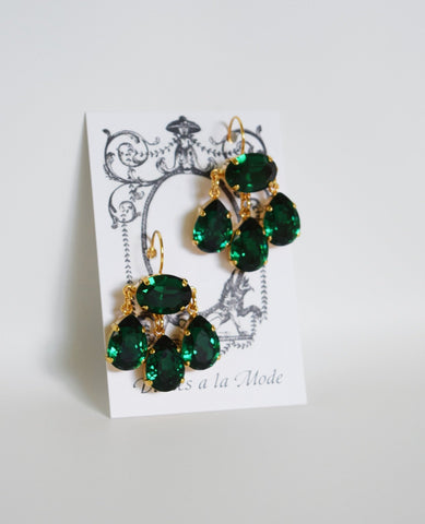 Girandole Earrings - Large Pear Swarovski Emerald