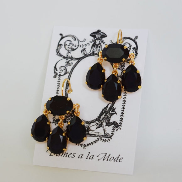 Girandole Earrings - Large Pear Swarovski Jet Black