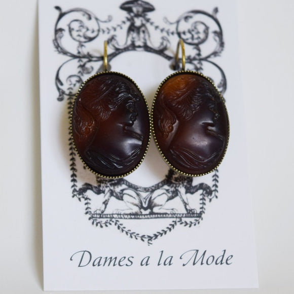 Cameo Earrings - Large Brown Tortiseshell
