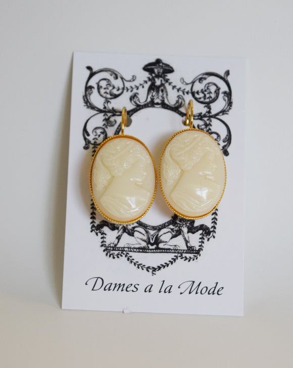 Cameo Earrings - White Milk Glass - Large
