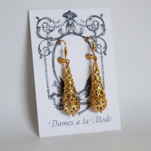 Gold Filigree Teardrop Earrings - Victorian Era