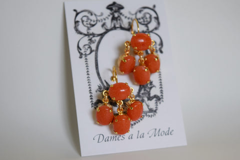 Girandole Earrings - Small Oval Coral