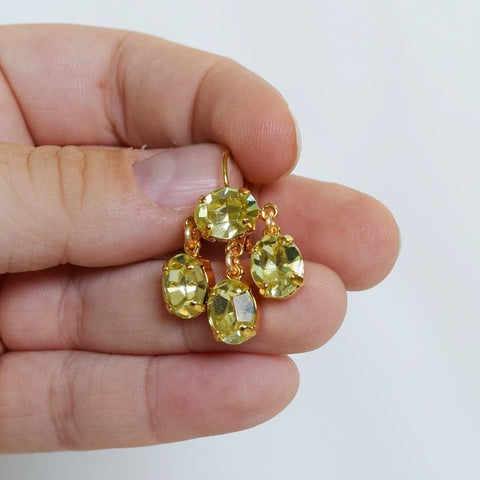Girandole Earrings - Small Oval Swarovski Citrine