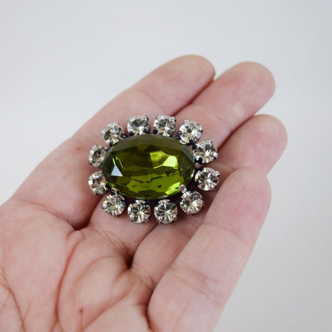 Olive Green Crystal Cluster Brooch