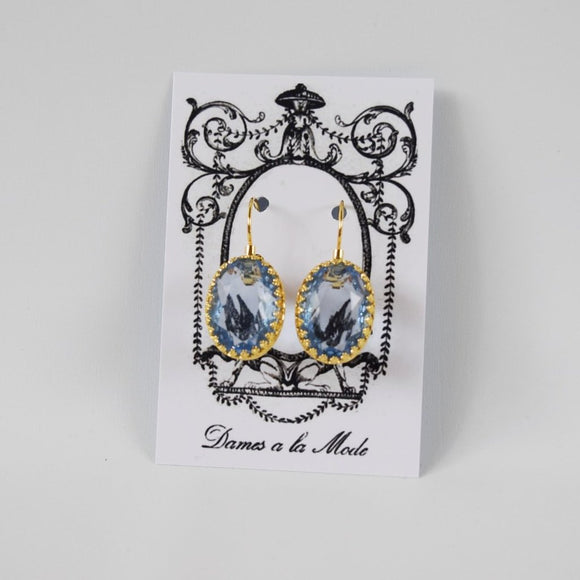 Light Blue Crystal Crown Earrings - Large Ovals