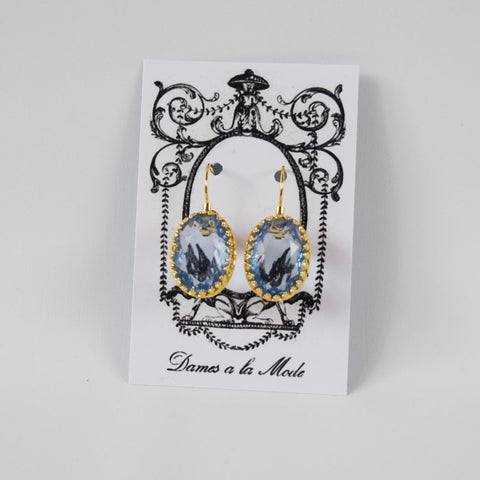 Light Blue Crystal Crown Earrings