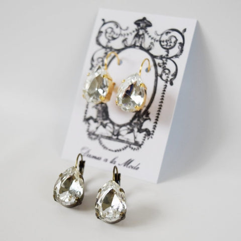 Clear Crystal Teardrop Earring