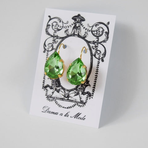 Peridot Green Teardrop Earring