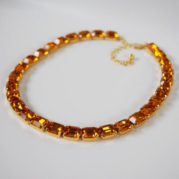 Orange Topaz Collet Necklace - Small Octagon