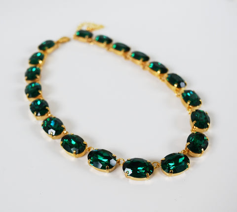 Emerald Green Swarovski Crystal Collet Necklace - Large Oval