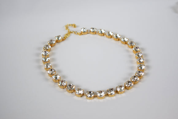 Clear Swarovski Crystal Collet Necklace - Small Round