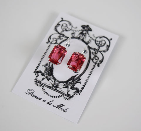 Rose Pink Swarovski Crystal Earrings - Medium Octagon